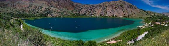 Panoramic View Of Lake Kourna, Crete Stock Image