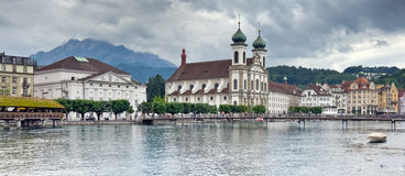 Panoramic View Of Lucerne And Mount Pilatus, Switzerland Stock Photo