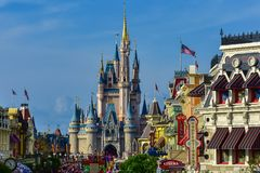 Free Panoramic View Of Main Street And Cinderella`s In Magic Kingdom Castle At Walt Disney World  2 Stock Photo - 144503680