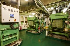 Free Panoramic View Of Marine Diesel Generators On A Merchant Ship In The Engine Room Royalty Free Stock Image - 131184876
