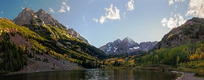 Free Panoramic View Of Maroon Bells Peaks And Fall Colors In The Rocky Mountain National Park Stock Photos - 101634043