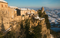 Panoramic View Of Montefalcone Appennino Village With Snow Royalty Free Stock Photography