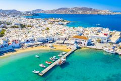 Free Panoramic View Of Mykonos Town, Cyclades Islands, Greece Stock Images - 163565764