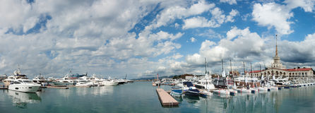 Panoramic View Of Sea Port With A Beautiful Sky With Clouds In Sochi, Russia Stock Photo