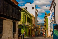 Free Panoramic View Of Street With Crumbling Buildings And View On A Bay In Santiago De Cuba , Cuba Royalty Free Stock Images - 114540199