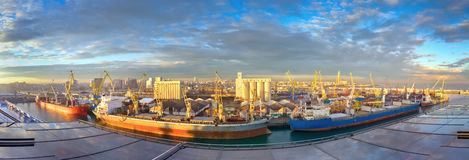 Panoramic View Of Sunny Morning At Seaport, Casablanca - Morocco Royalty Free Stock Photography