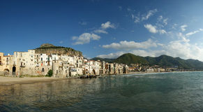 Panoramic View Of The Cefalu Waterfront Royalty Free Stock Image