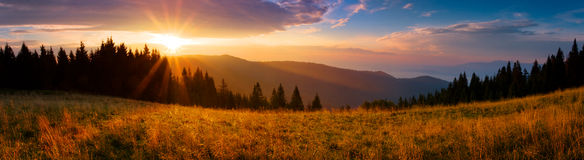 Panoramic View Of The Sunrise In The Tatra Mountains Royalty Free Stock Image