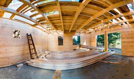Free Panoramic View Of Wooden Roof Construction Royalty Free Stock Image - 107673106