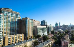 Panoramic view of office buildings and residential apartments in the central district of Beijing, China. BEIJING, CHINA – October 15, 2013: Panoramic view of Royalty Free Stock Images