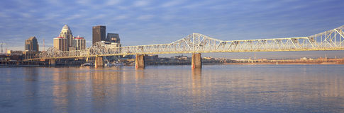 Panoramic view of the Ohio River and Louisville skyline, KY shot from Indiana Royalty Free Stock Photo