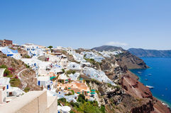 Panoramic view of Oia on the island of Santorini. Thera,Greece. Royalty Free Stock Photo