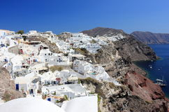 Panoramic view of Oia. Santorini Island, the Cyclades, Greece. Oia or Ia is a small town and former community in the South Aegean on the islands of Thira Royalty Free Stock Photos