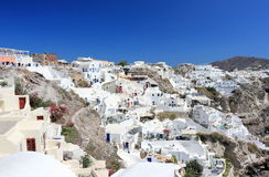 Panoramic view of Oia. Santorini Island, the Cyclades, Greece. Oia or Ia is a small town and former community in the South Aegean on the islands of Thira Royalty Free Stock Image