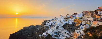 Panoramic view of Oia at sunset Royalty Free Stock Photo