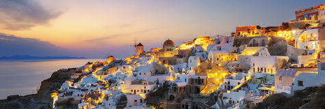 Panoramic view of Oia at sunset Stock Images