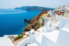 Panoramic view of Oia town, Santorini island, Greece. Stock Image
