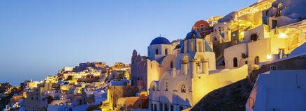 Panoramic view of Oia village at night Royalty Free Stock Photo