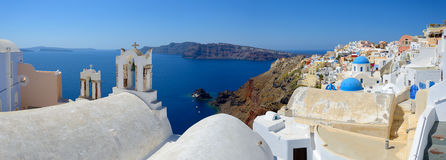 Panoramic view of  Oia village Santorini Royalty Free Stock Images