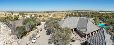 Panoramic view of Okaukuejo Safari Camp in Etosha National Park, Namibia, Southern Africa royalty free stock images