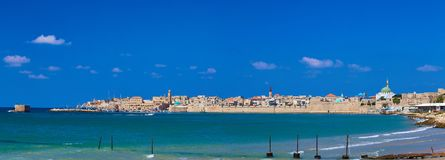Panoramic view of Old Acre Israel royalty free stock images