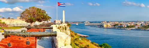 Panoramic view of old cannons overlooking the city of Havana Stock Photography