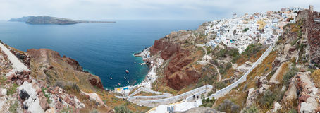Panoramic view from the Old caste of Oia, Santorini. Greece Stock Photos