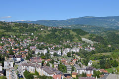 Panoramic view from old castle in the Jajce,Bosnia and Herzegovina. Travel to Europa.Panoramic view from old castle in the Jajce,Bosnia and Herzegovina Stock Image