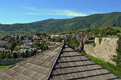 Panoramic view from old castle in the Jajce,Bosnia and Herzegovina. Travel to Europa.Panoramic view from old castle in the Jajce,Bosnia and Herzegovina Stock Photo