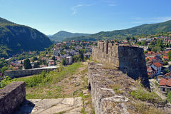 Panoramic view from old castle in the Jajce,Bosnia and Herzegovina. Travel to Europa.Panoramic view from old castle in the Jajce,Bosnia and Herzegovina Stock Images