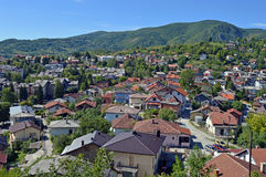 Panoramic view from old castle in the Jajce,Bosnia and Herzegovina. Travel to Europa.Panoramic view from old castle in the Jajce,Bosnia and Herzegovina Royalty Free Stock Image