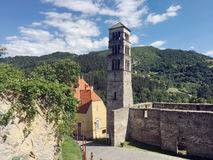Panoramic view from old castle in the Jajce,Bosnia and Herzegovina. Travel to Europa.Panoramic view from old castle in the Jajce,Bosnia and Herzegovina Royalty Free Stock Photography