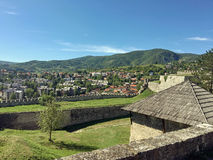 Panoramic view from old castle in the Jajce,Bosnia and Herzegovina. Travel to Europa.Panoramic view from old castle in the Jajce,Bosnia and Herzegovina Royalty Free Stock Images