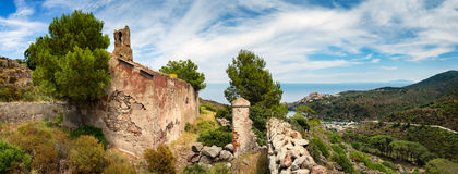 Panoramic view from old church on beautiful Capraia island Stock Photo