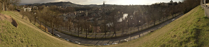 Panoramic view of old city of Bern on sunset. Switzerland. Royalty Free Stock Photo