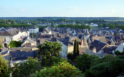 Panoramic view on the old city of Chinon, France Stock Photo