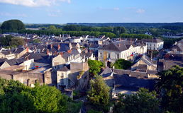 Panoramic view on the old city of Chinon, France Royalty Free Stock Images