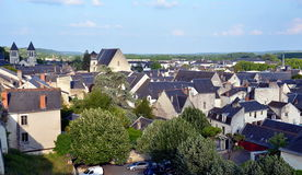 Panoramic view on the old city of Chinon, France Royalty Free Stock Photography