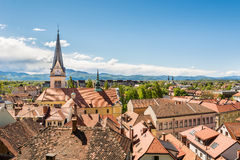 Panoramic view of old city district with a church Royalty Free Stock Images