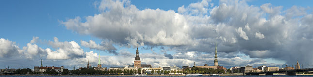 Panoramic view on old city from embankment of Daugava river, Riga Stock Photos