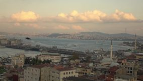 Panoramic view old city Istanbul with Bosphorus strait, Galata bridge with travel ships and boards and flying bird stock footage