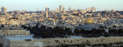 Panoramic view of Old City of Jerusalem at sunrise Royalty Free Stock Photos