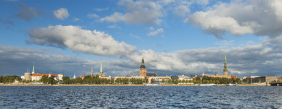 Panoramic view on old city of Riga, Latvia Stock Photo
