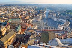 Panoramic view of old city and St. Peter`s Square in Rome, Italy Stock Image
