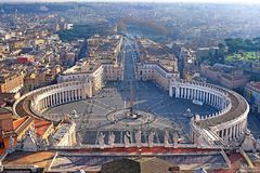 Panoramic view of old city and St. Peter`s Square in Rome, Italy Stock Photos