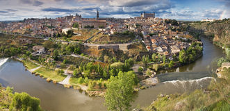 Panoramic view in the old city in Toledo Stock Image