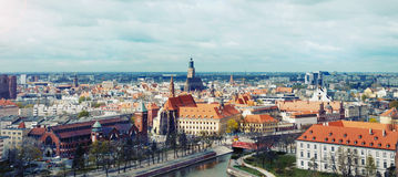 Panoramic view of the old city of Wroclaw in Poland on dramatic Stock Images