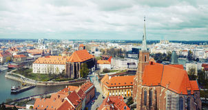 Panoramic view of the old city of Wroclaw in Poland Stock Photo