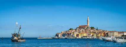 Panoramic view on old coastal town Rovinj, Istria, Croatia Stock Image