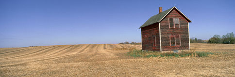 Panoramic view of old farm building in rural Battle Lake, Minnesota Royalty Free Stock Photo